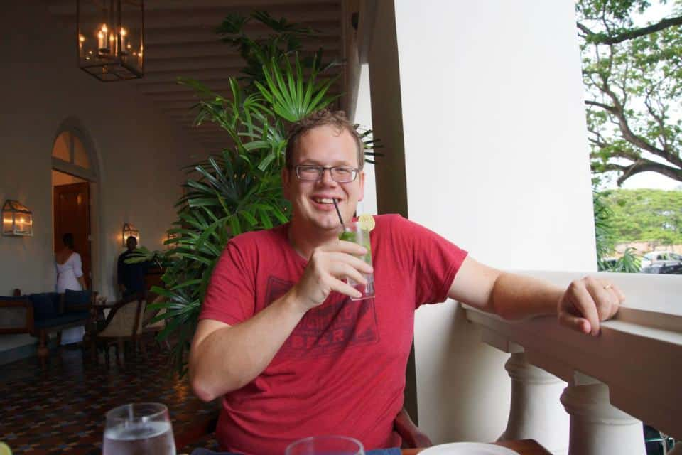 Enjoying a G&T at the Amangalle hotel, Galle, Sri Lanka