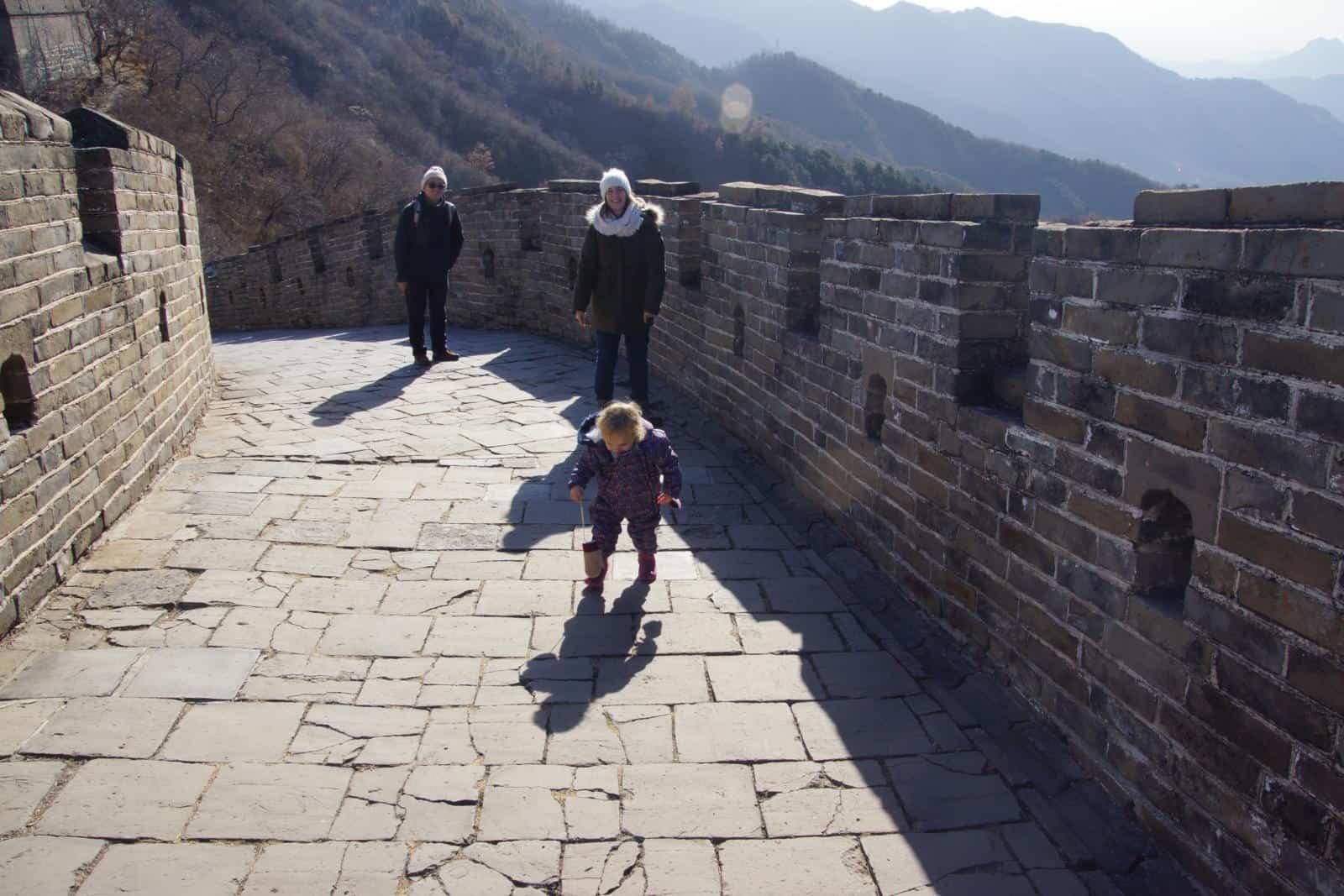 Baby Wandermust walking the Great Wall of China