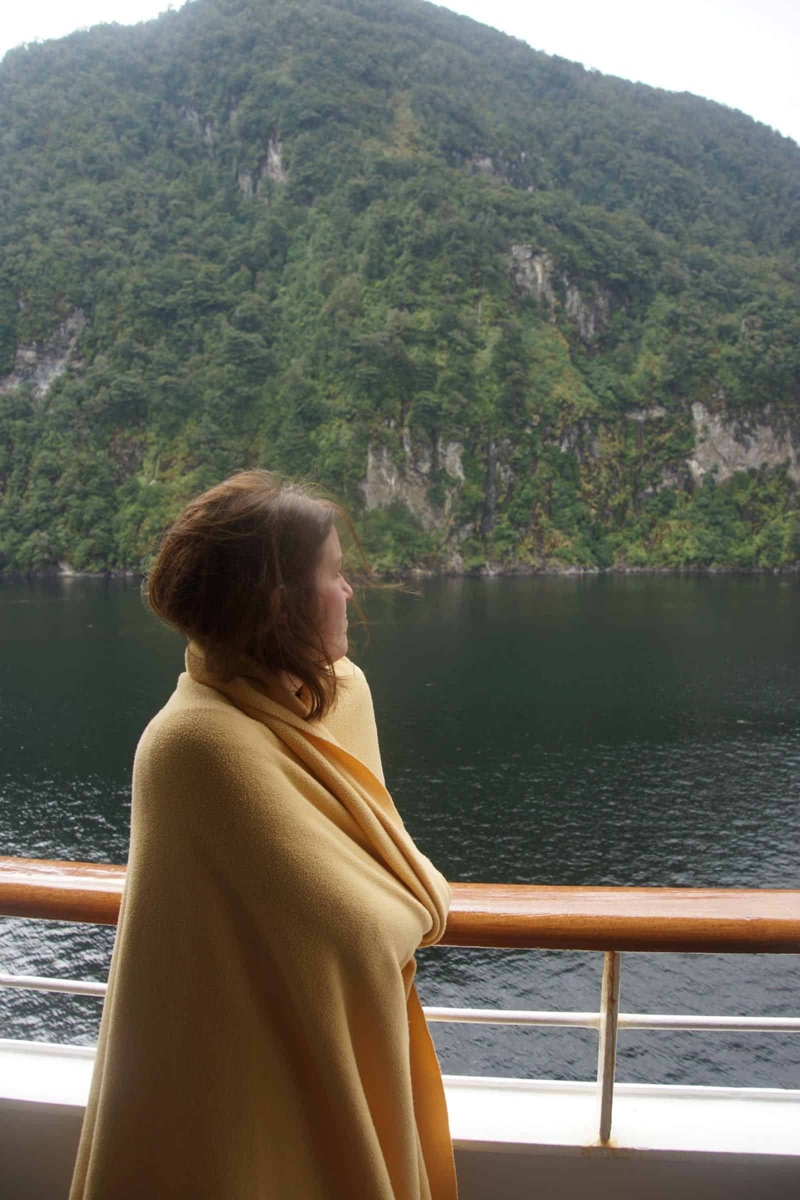 Scenic Cruising from Balcony in New Zealand - tips for cruising while pregnant - how to have a cruise babymoon