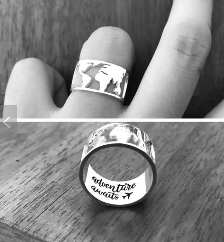 Whole World map wedding ring