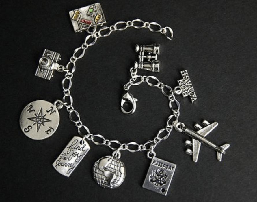 travel charm bracelet - travel themed bracelet
