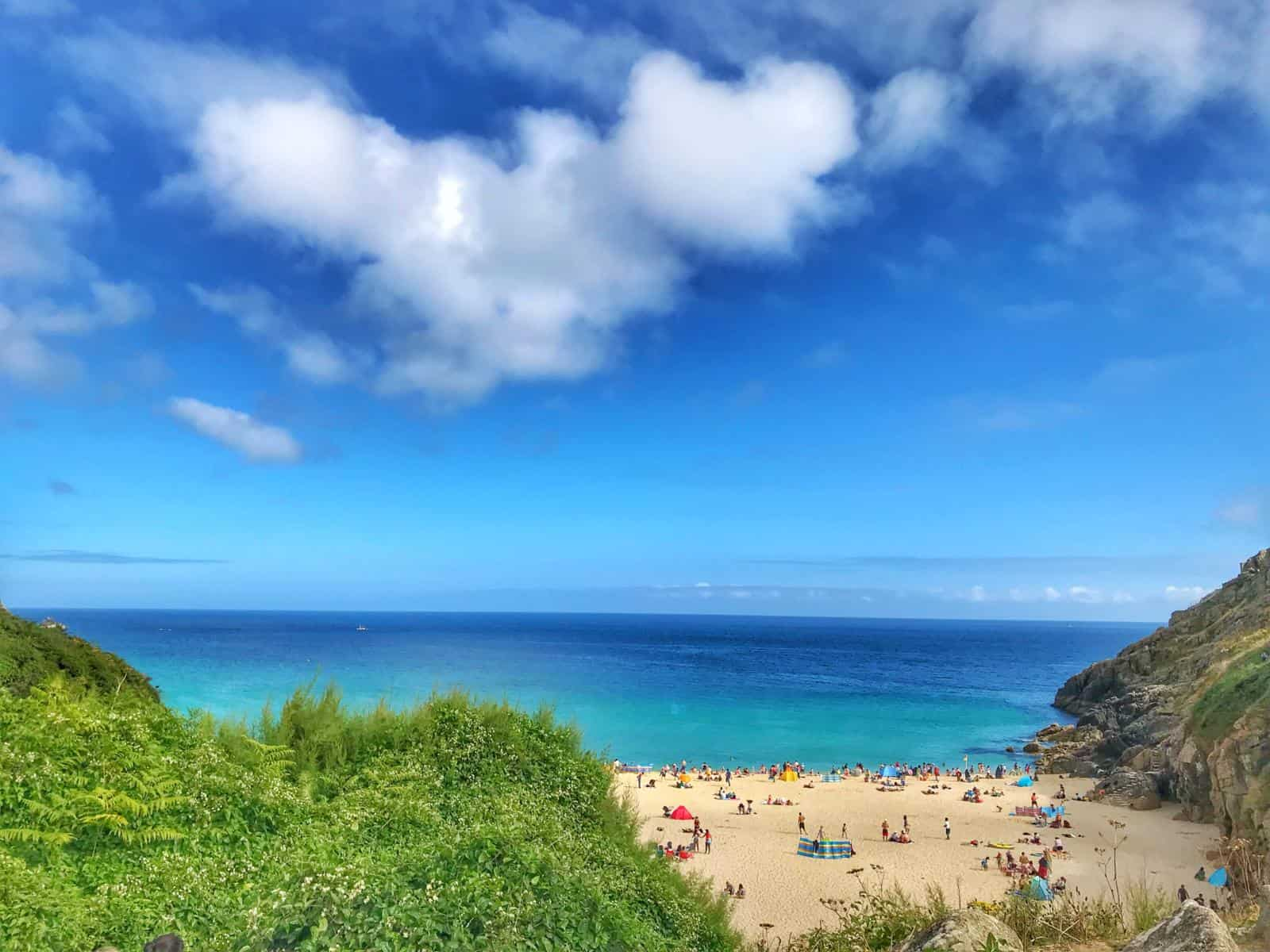 Most Beautiful and Best Beach in Cornwall - Porthcurno - the perfect UK babymoon destination
