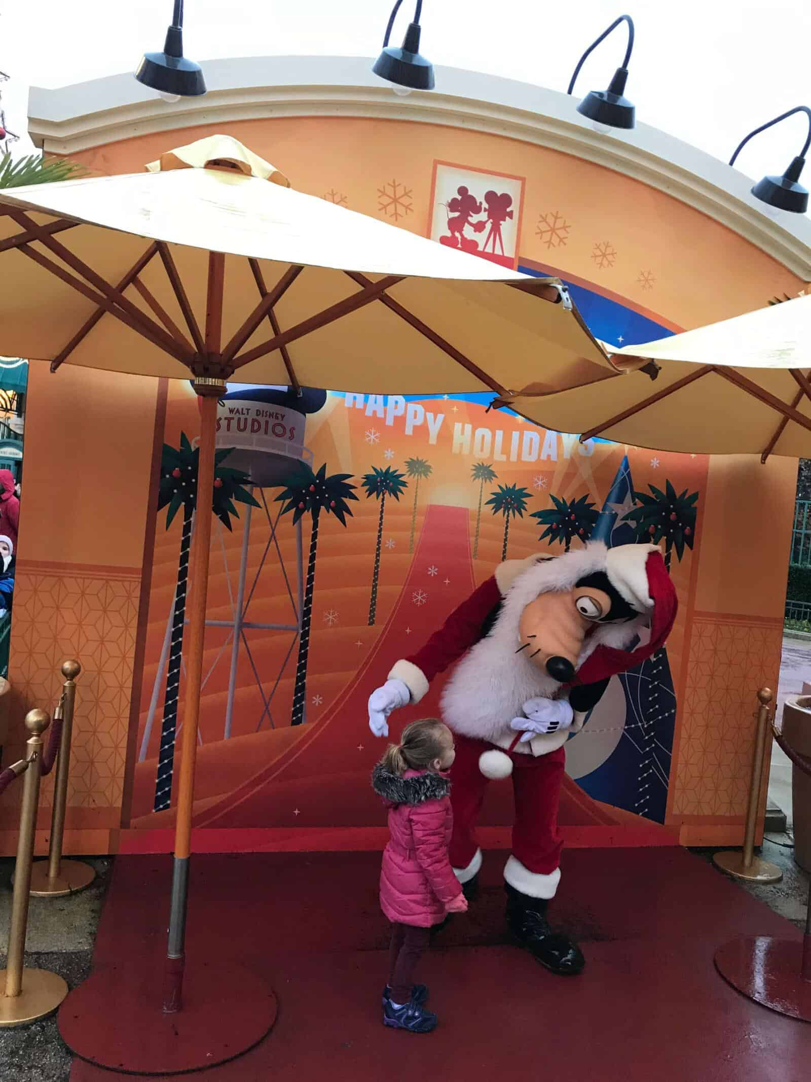 Disneyland Paris at Christmas - characters in festive outfits